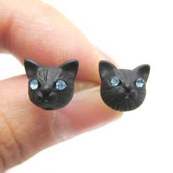 Adorable Tiny Kitty Cat Face Shaped Stud Earrings in Black | DOTOLY | DOTOLY