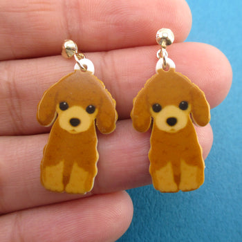Adorable Toy Poodle Puppy Shaped Stud Drop Earrings for Dog Lovers