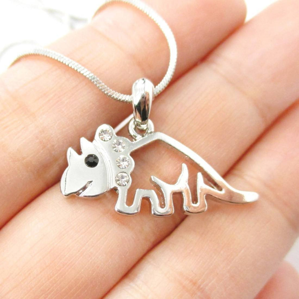 Adorable Triceratops Dinosaur Outline Prehistoric Animal Themed Pendant Necklace in Silver | DOTOLY