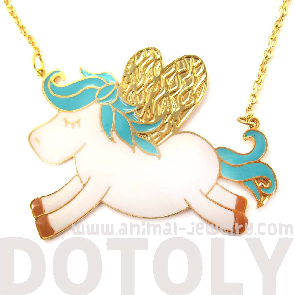 Adorable Pegasus Horse Animal Pendant Necklace in Turquoise on Gold | Limited Edition | DOTOLY
