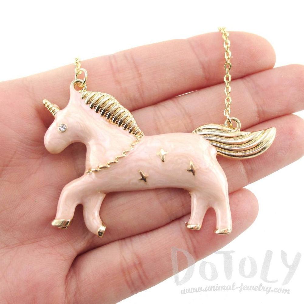 Adorable Unicorn Enamel Pendant Necklace in Pink | Animal Jewelry | DOTOLY