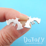 Adorable Upside Down Bat Shaped Stud Earrings in Silver