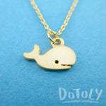 Adorable Whale Shaped Animal Inspired Charm Necklace in Gold or Silver