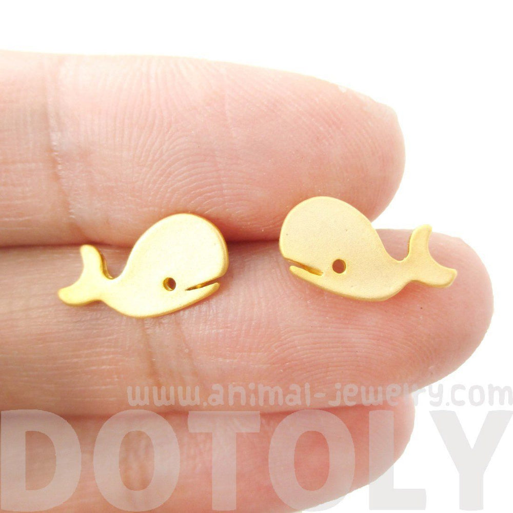 Adorable Whale Shaped Animal Inspired Stud Earrings in Gold | Animal Jewelry | DOTOLY