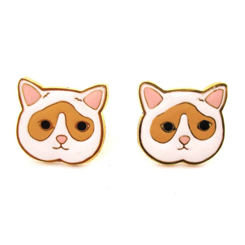 Adorable White and Tan Kitty Cat Face Shaped Stud Earrings | Limited Edition | DOTOLY