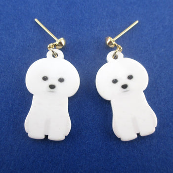 Adorable White Maltese Bichon Frise Puppy Shaped Stud Drop Earrings