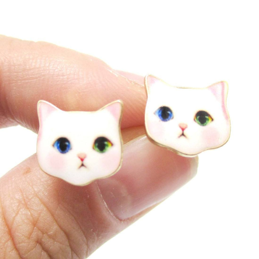 Adorable White Odd-eyed Kitty Cat Face Shaped Stud Earrings | Animal Jewelry | DOTOLY
