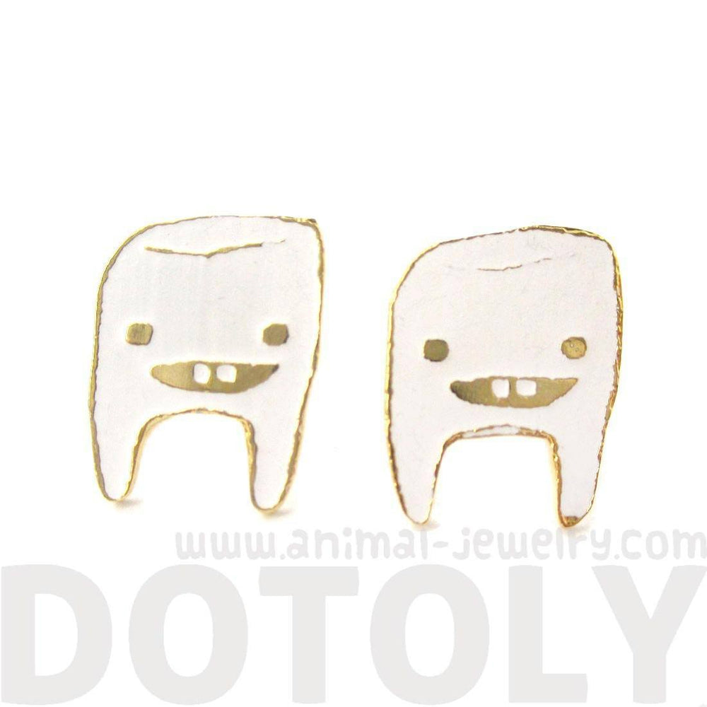 Adorable Wisdom Tooth Smiley Face Shaped Stud Earrings in White on Gold | Limited Edition | DOTOLY