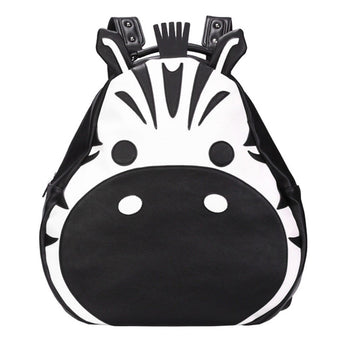 Adorable Zebra Face Shaped Animal Inspired Faux Leather Backpack Rucksack for Women | DOTOLY