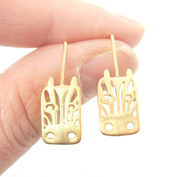 Adorable Zebra Face Shaped Stud Earrings in Gold | Animal Jewelry | DOTOLY