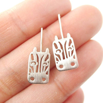 Adorable Zebra Face Shaped Stud Earrings in Silver | Animal Jewelry | DOTOLY