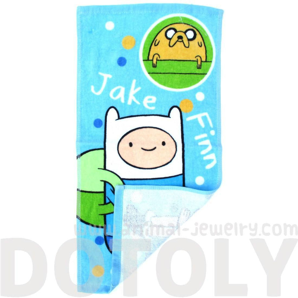 Adventure Time Finn and Jake Print Handkerchief Cotton Towel in Light Blue | DOTOLY