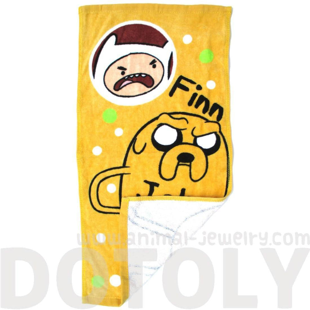 Adventure Time Finn and Jake Print Handkerchief Cotton Towel in Yellow | DOTOLY