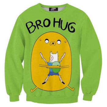Adventure Time Jake and Finn Bro Hug All Over Print Crew Neck Pullover Sweater in Green | DOTOLY | DOTOLY