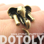 African Elephant Animal Wrap Around Ring in Bronze - Sizes 6 to 10.5 Available | DOTOLY