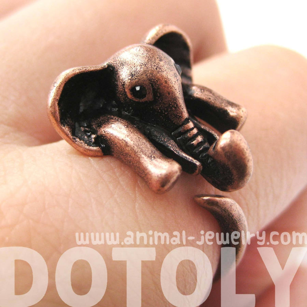 African Elephant Animal Wrap Around Ring in Copper - Sizes 6 to 10.5 Available | DOTOLY