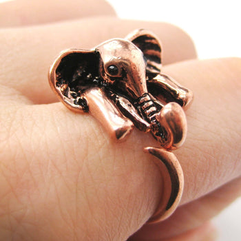 African Elephant Animal Wrap Around Ring in Shiny Copper - Sizes 6 to 10.5 Available | DOTOLY
