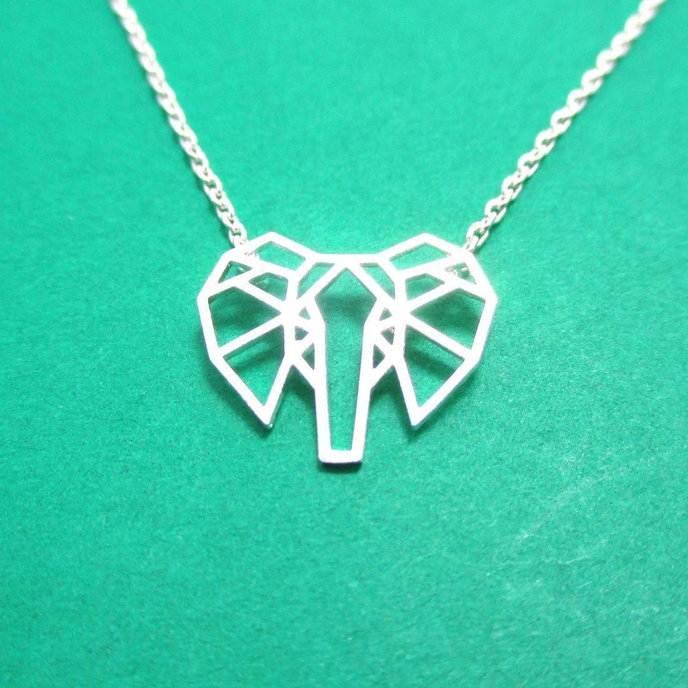 African Elephant Face Outline Shaped Pendant Necklace In Silver