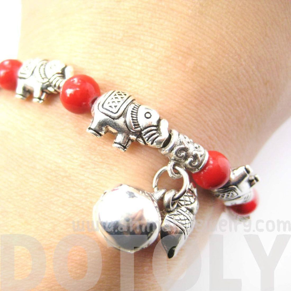 African Elephant Shaped Stretchy Beaded Charm Bracelet in Silver | DOTOLY | DOTOLY