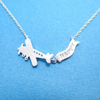 Airplane With Happy Banner Shaped Motivational Charm Necklace in Silver | DOTOLY | DOTOLY