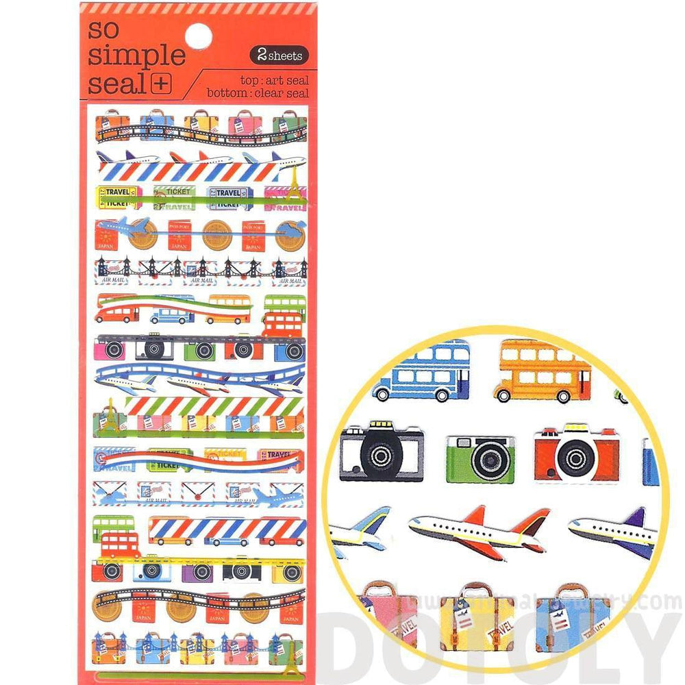 airplanes camera tickets luggage travel themed stickers for