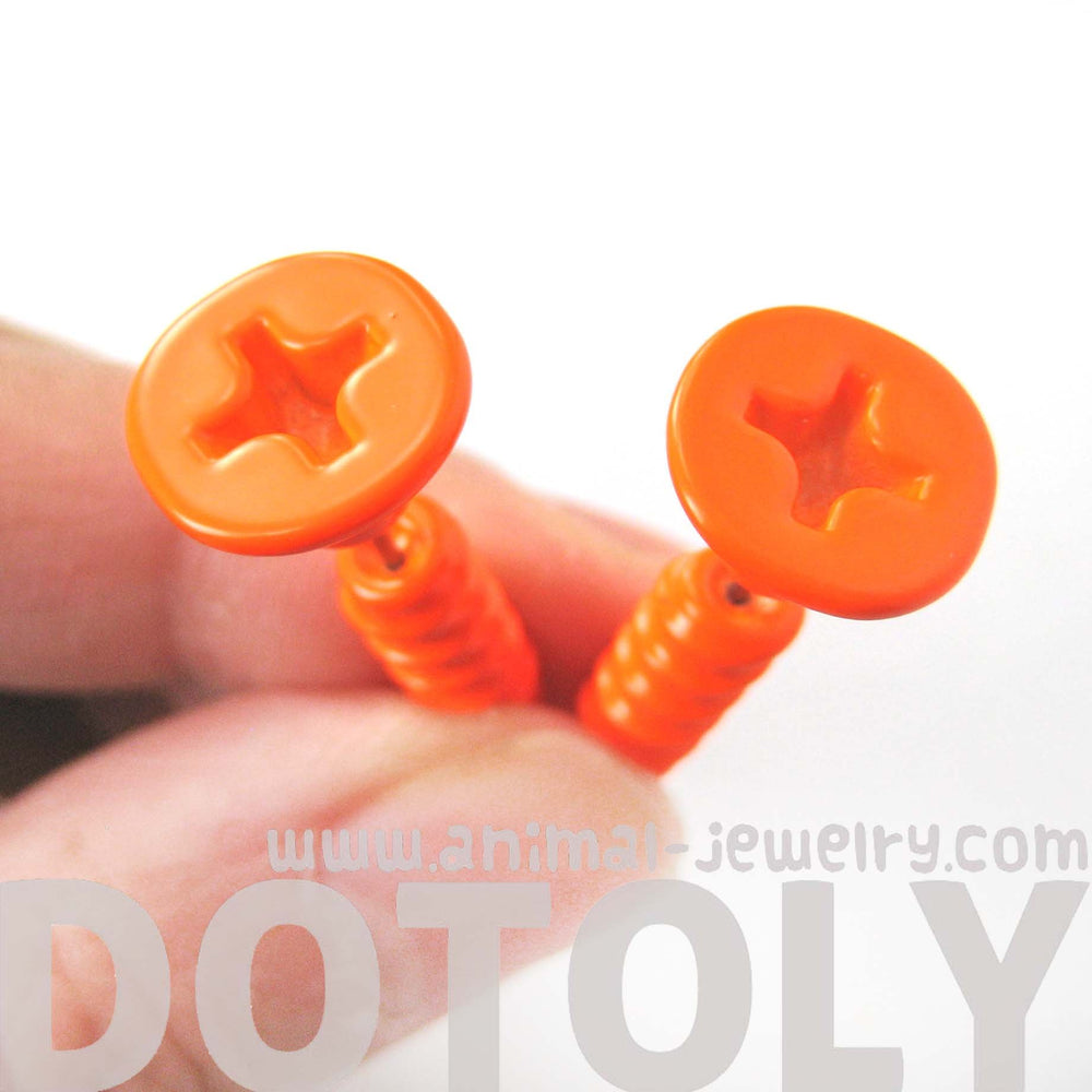 Fake Gauge Earrings: Realistic Screw Shaped Faux Plug Stud Earrings in Bright Orange | DOTOLY