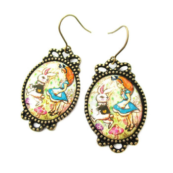 Alice in Wonderland Themed Bunny Rabbit Whimsical Illustrated Dangle Earrings | DOTOLY