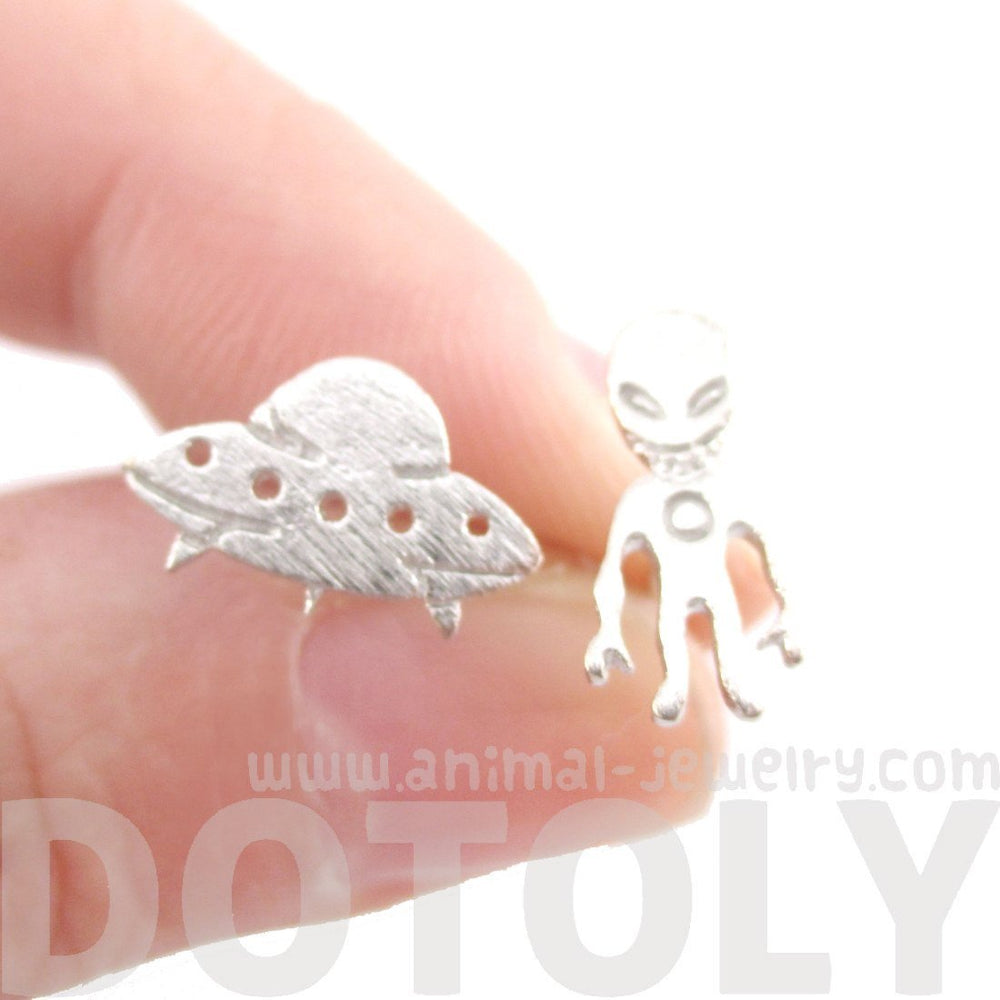 Alien and UFO Space Ship Shaped Stud Earrings in Silver | DOTOLY | DOTOLY