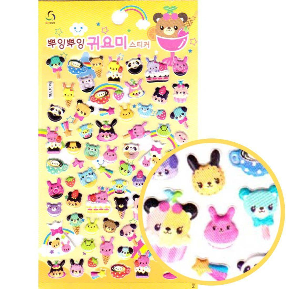 Animals and Desserts Shaped Food Themed Puffy Stickers for Scrapbooking | DOTOLY