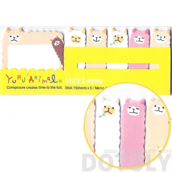 Alpaca Sheep Lamb Shaped Animal Memo Pad Post-it Index Sticky Tab Bookmarks | DOTOLY