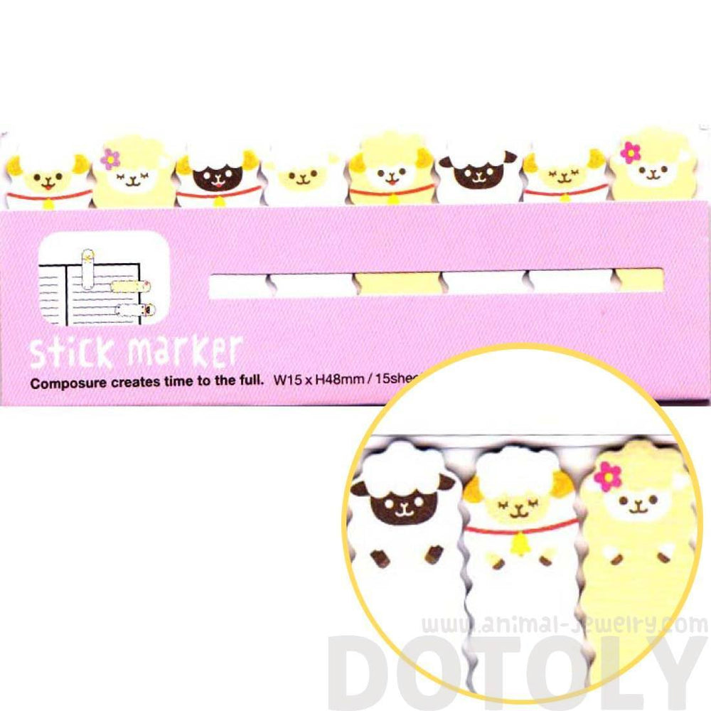 Alpaca Sheep Shaped Animal Themed Memo Pad Post-it Index Sticky Tabs | DOTOLY