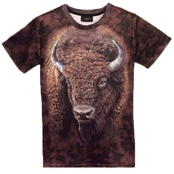 American Buffalo Bison Face Print Graphic Tee T-Shirts | DOTOLY | DOTOLY