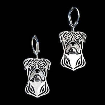 American Bulldog Face Shaped Drop Dangle Earrings in Silver | Animal Jewelry | DOTOLY
