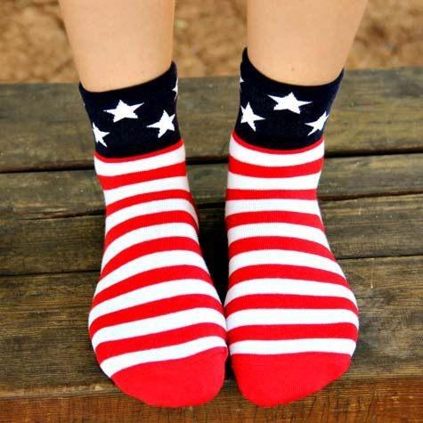American Flag Star and Stripes Googly Eye Flip Short Cotton Socks for Women | DOTOLY | DOTOLY