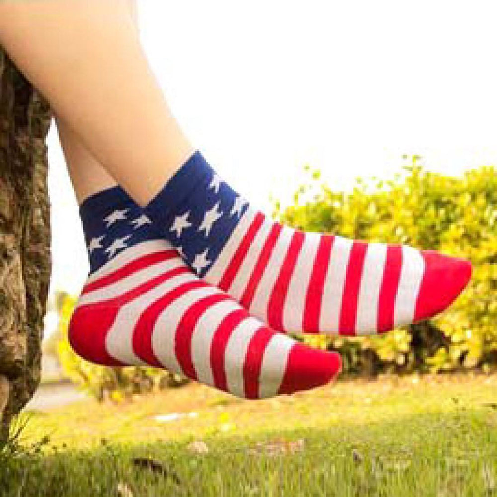 American USA Flag Star and Stripes Print Long Cotton Socks for Women | DOTOLY | DOTOLY