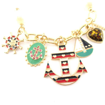 Anchor Boat Helm Nautical Themed Charm Bracelet with Pearl Details | DOTOLY | DOTOLY