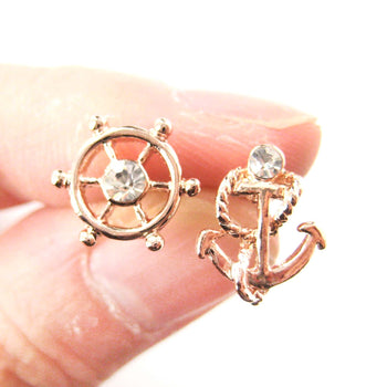 Nautical Themed Anchor and Wheel Shaped Stud Earrings in Rose Gold | DOTOLY