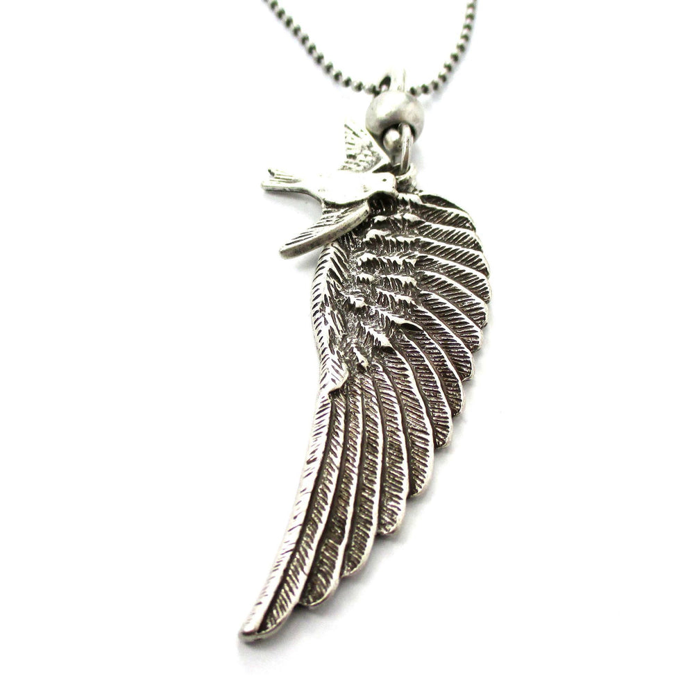 Angel Wing Feather and Dove Shaped Pendant Necklace in Silver | DOTOLY | DOTOLY