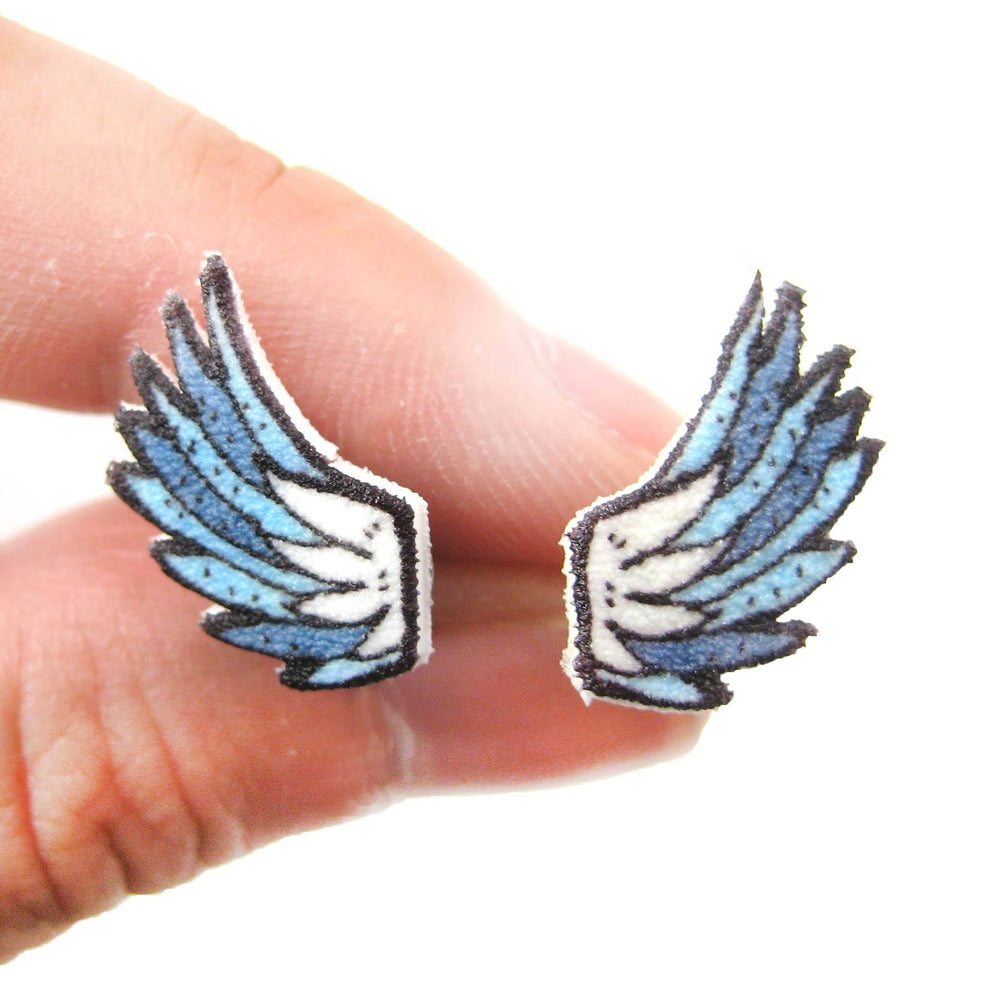 Angel Wings Feather Shaped Illustration Stud Earrings | Handmade Shrink Plastic | DOTOLY