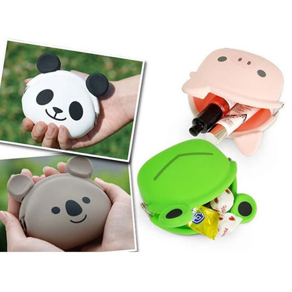 Panda Bear Shaped Mimi Pochi Animal Friends Silicone Clasp Coin Purse Pouch | DOTOLY
