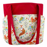 Owl Fox Squirrel Woodland Creatures Animal Print Large Shoulder Tote Bag