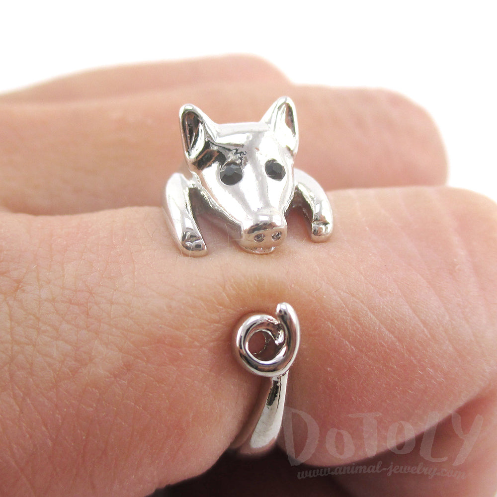 Shiny Silver Enamel Animal Rings made in the shape of a Piglet with Curly Tail Farm Animals