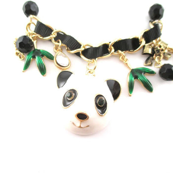 Animal Themed Panda Bear and Bamboo Charm Bracelet | DOTOLY | DOTOLY