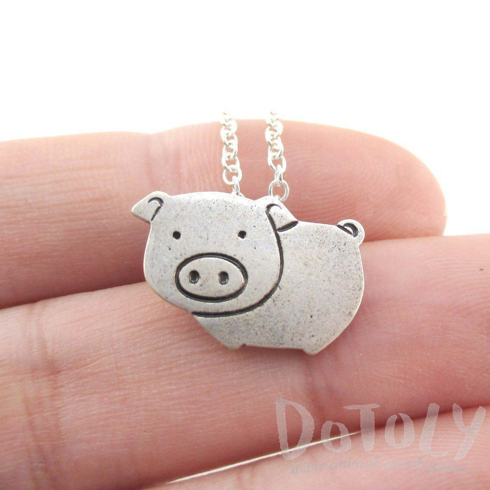 Animal Themed Piglet Piggy Pig Shaped Pendant Necklace in Silver | DOTOLY | DOTOLY