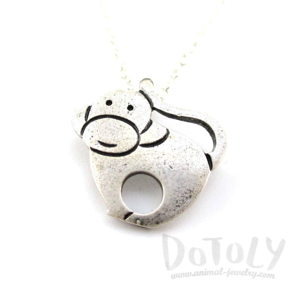 Animal Themed Simple Monkey Pendant Necklace in Silver | DOTOLY | DOTOLY