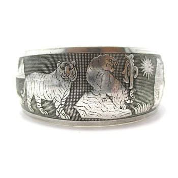 Animal Themed Tiger Print Bangle Cuff Bracelet in Silver | Animal Jewelry | DOTOLY