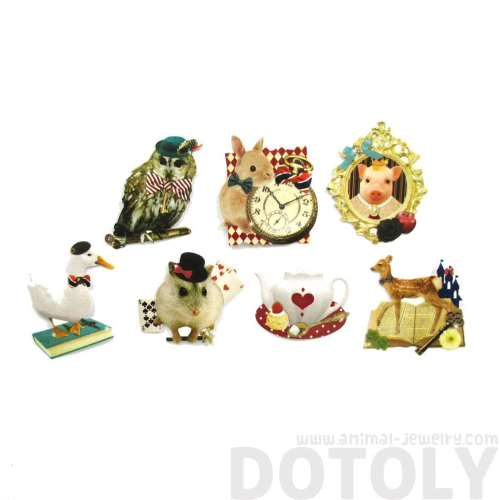 Alice in Wonderland Animals Themed Shaped Flake Seal Sticker Set | 70 Pieces | DOTOLY