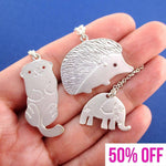 Animals Themed Hedgehog Elephant Sea Otter 3 Piece Necklace Set