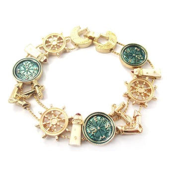 Antique Nautical Themed Light House Compass Anchor Helm Charm Bracelet | DOTOLY