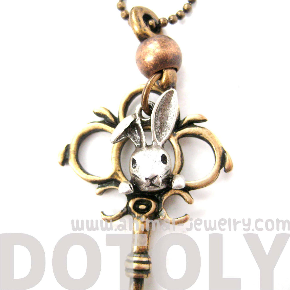 Antique Skeleton Key and Bunny Rabbit Charm Necklace in Bronze | DOTOLY | DOTOLY